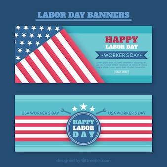 Set of banners for labour day with american flag