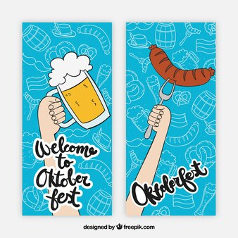 Set of banners with hand drawn beer and sausage