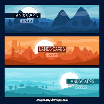 Set of banners with mountains