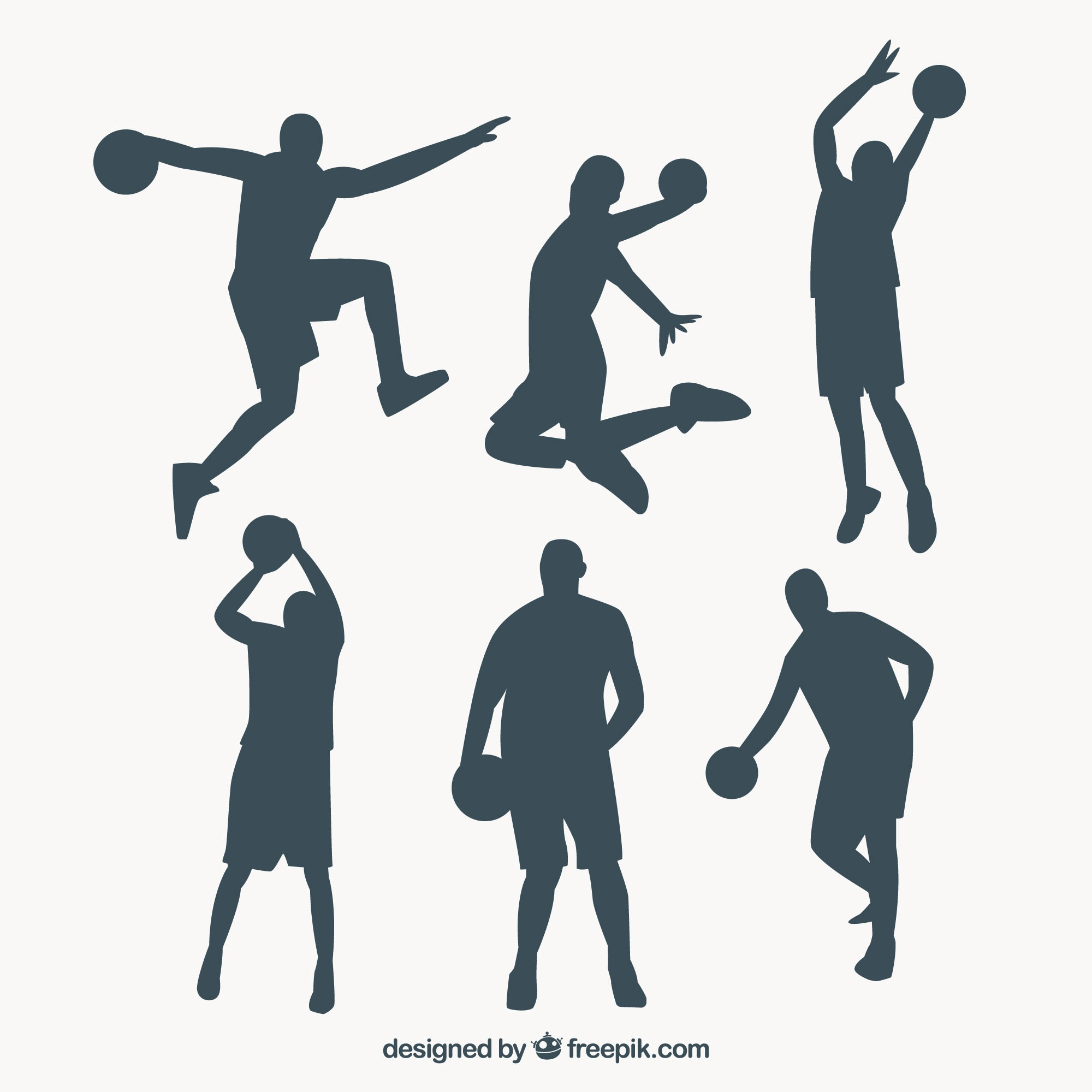 Set of basketball players silhouettes