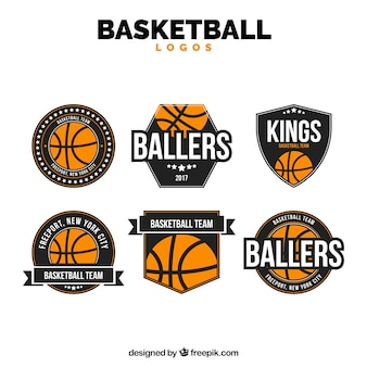 Set of basketball stickers