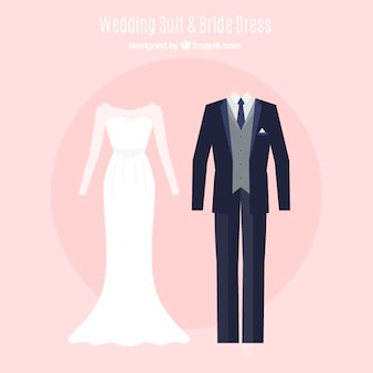 Set of beautiful bride dress and wedding suit