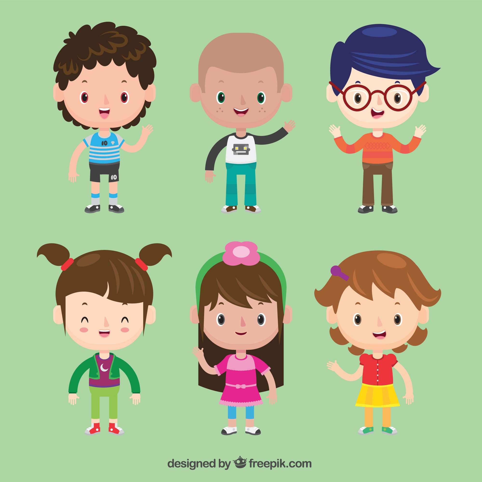 Set of beautiful children characters