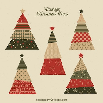 Set of beautiful christmas trees with different shapes