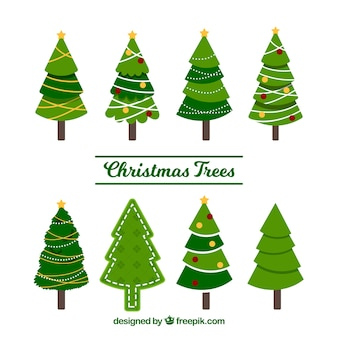 Set of beautiful christmas trees