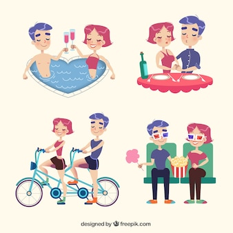 Set of beautiful couple spending time together