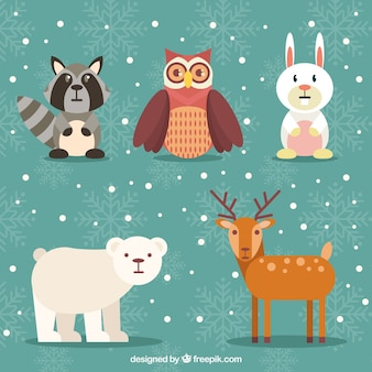 Set of beautiful forest animals in flat design