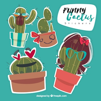 Set of beautiful funny cactus stickers