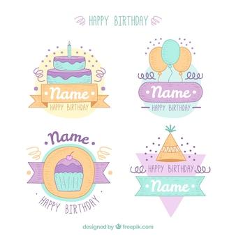 Set of beautiful hand drawn birthday stickers