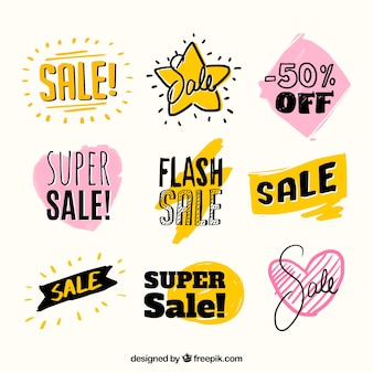 Set of beautiful hand drawn sale stickers