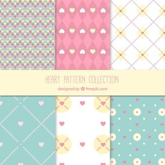 Set of beautiful hearts patterns