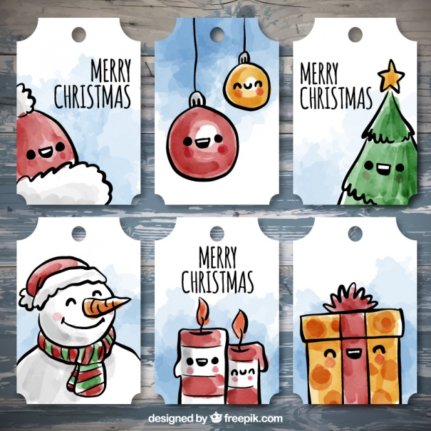 Set of beautiful labels with christmas items