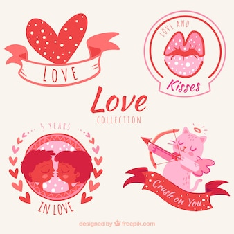 Set of beautiful love stickers