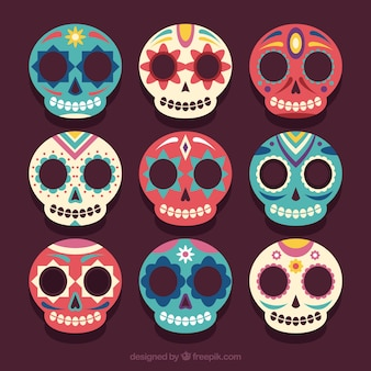 Set of beautiful mexican skulls