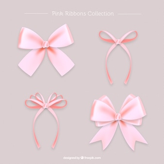 Set of beautiful pink realistic bows