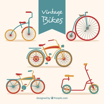 Set of beautiful retro bikes