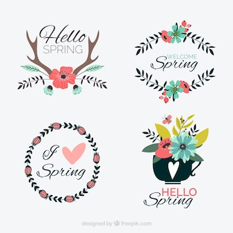 Set of beautiful spring stickers with flowers