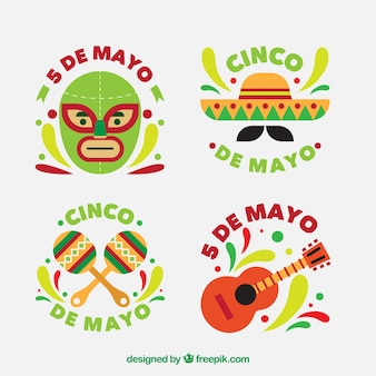 Set of beautiful stickers of cinco de mayo