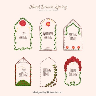 Set of beautiful stickers with floral watercolor details