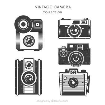 Set of beautiful vintage cameras