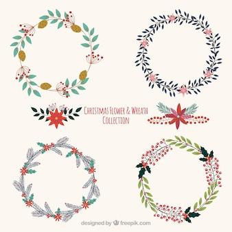 Set of beautiful vintage christmas wreaths