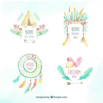 Set of beautiful watercolor boho stickers