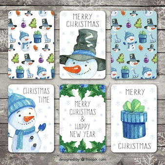 Set of beautiful watercolor christmas cards