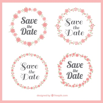 Set of beautiful wedding floral wreaths stickers