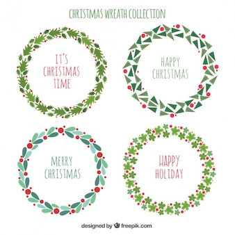 Set of beautiful wreaths decoration