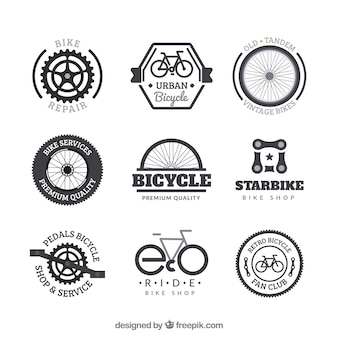Set of bicycle badges in vintage style