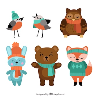 Set of birds and nice forest animals wearing winter clothes