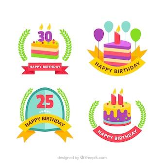 Set of birthday badges in flat design