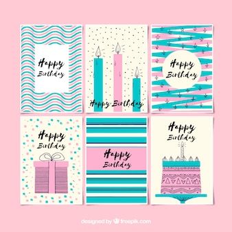 Set of birthday cards in retro style