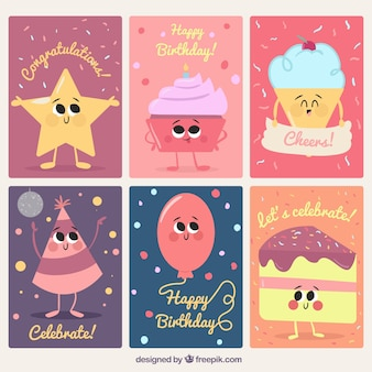 Set of birthday cards with adorable characters