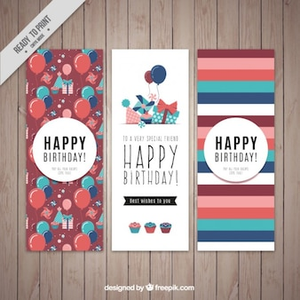 Set of birthday cards with balloons and stripes