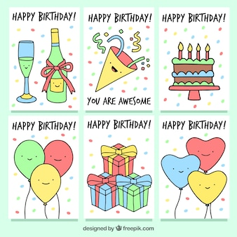 Set of birthday cards with party drawings