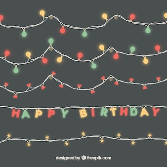 Set of birthday lights garlands