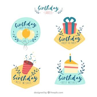 Set of birthday stickers in retro style