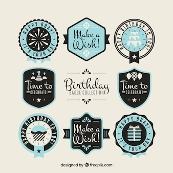 Set of birthday stickers in vintage design