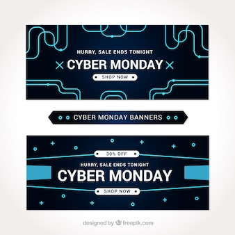 Set of black cyber monday banners with blue lines