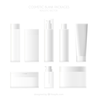 Set of blank cosmetic products