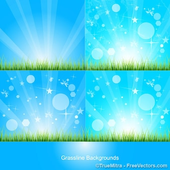 Set of blue backgrounds with abstract shapes