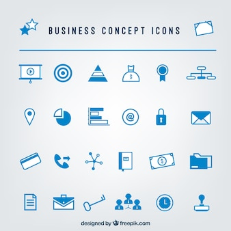 Set of blue business icons