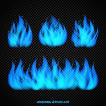 Set of blue flames