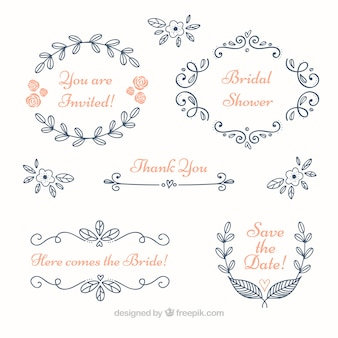 Set of blue floral wedding frames