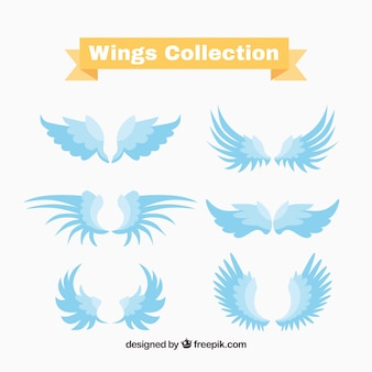 Set of blue wings logos