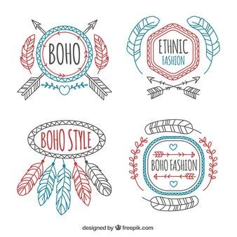 Set of boho badges with black details