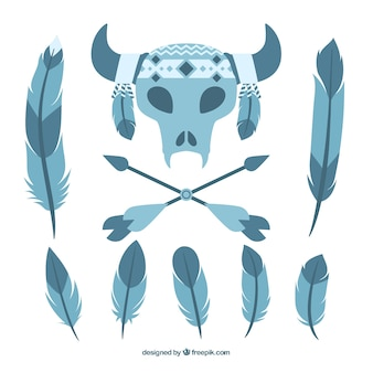 Set of boho elements in blue tones