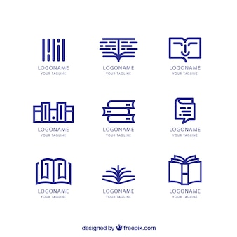 Set of bookstore logos in linear style
