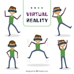 Set of boy having fun with virtual reality glasses